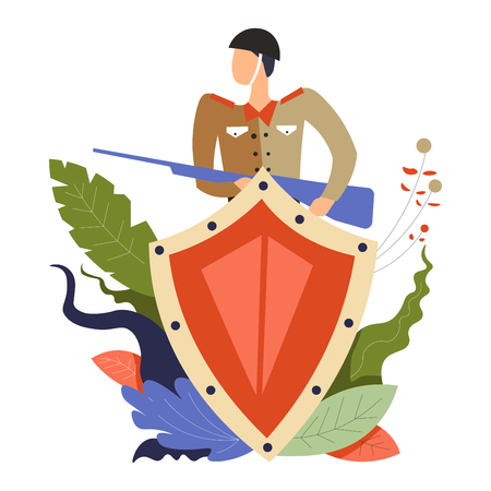 Soldier holding riffle weapon hiding behind metal shield vector man wearing uniform sergeant with gun defending country serving and protecting armed forces person in costume leaves decoration