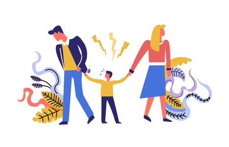 Family problems father and mother with child walking in different sides vector divorce of unhappy couple split and break up kid suffering from crisis of parents flowers and foliage decoration Illustration