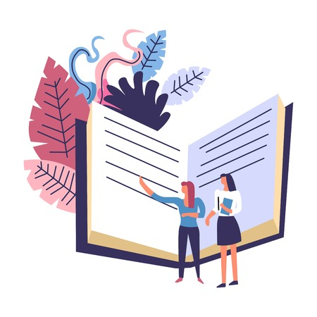 Big book and lady showing at publication and foliage vector ladies walking through textbook in hard cover and leaves decoration education and obtaining knowledge studies preparation of females Ilustração