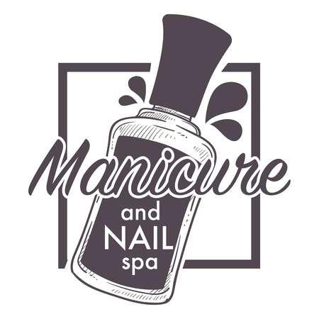 Manicure and nail spa, polish, lacquer sketch logo