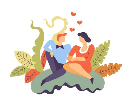 People in love man and woman sitting together vector male holding female cuddling pair surrounded by flowers and hearts foliage and frontage decoration relationship of boyfriend and girlfriend