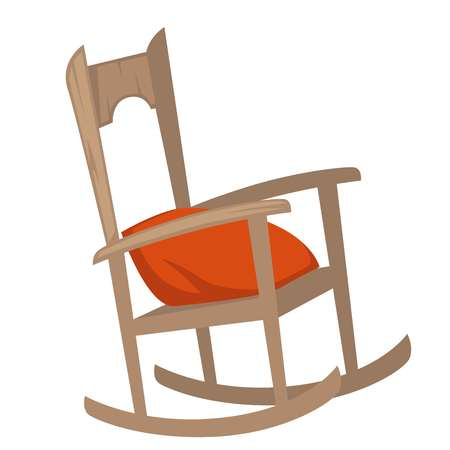 Rocking chair of wood with pillow on seat Imagens - 112774861