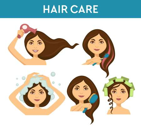 Hair care, woman washing it and using electric dryer vector. Coloring and cleaning procedures, lady brushing and making hairstyle. Female applying products to increase hairgrowth, improving health