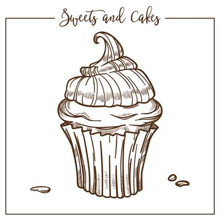 Sweets and cakes, cupcake with creamy top and drop everywhere vector. Bakery icon, monochrome sketch outline, sugary ingredients of tasty frosting on baked product. Culinary art in frame drawing