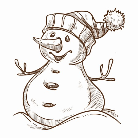 Snowman with happy smile on face winter character