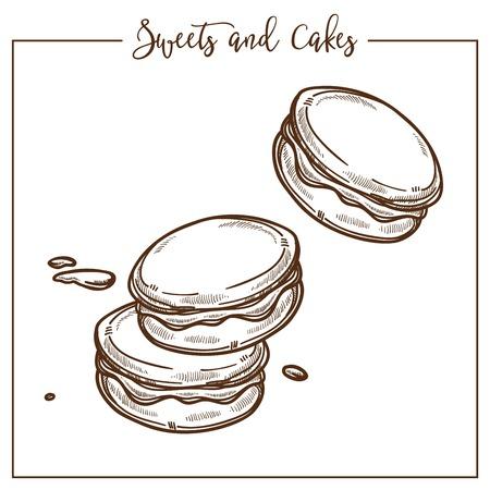 Süßigkeiten und Kuchen, Kekse und Kekse Snacks Gebäck Vektor. Monochrome Skizzenskizze von Backwaren, knusprige Speisen, die nach traditionellen Rezepten zubereitet werden. Leckeres Essen, Muffin französische Küche