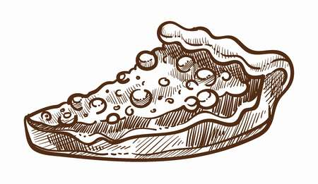 Sweet cake slice with berries and raisins monochrome sketch outline vector portion of baked food with nuts and pistachios pastry with sugar and dried fruits on top cut sugary product cooked snack