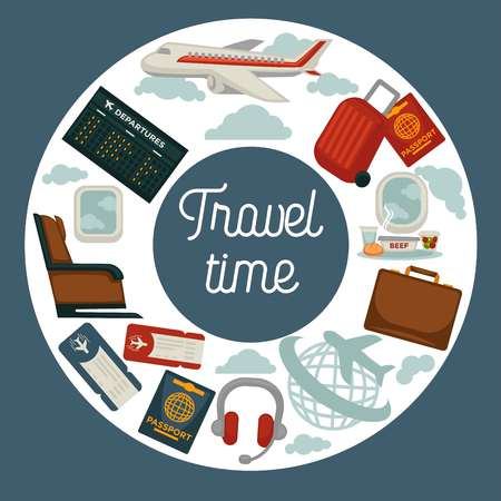 Travel poster for holiday vacation and summer air voyage. Vector flat design of tourist travel bag and passport or airplane flight tickets, luggage tags and stewardess or aircraft pilot Vettoriali