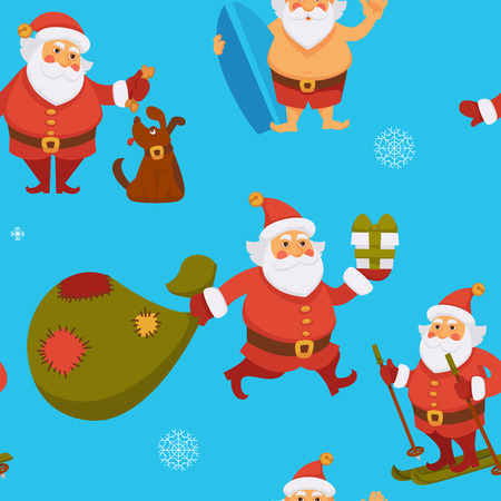 Santa Claus seamless pattern winter character having fun vector old man playing with dog holding surfing board and hurrying to give presents sack full of gifts skiing hobby of Saint Nicholas Vettoriali