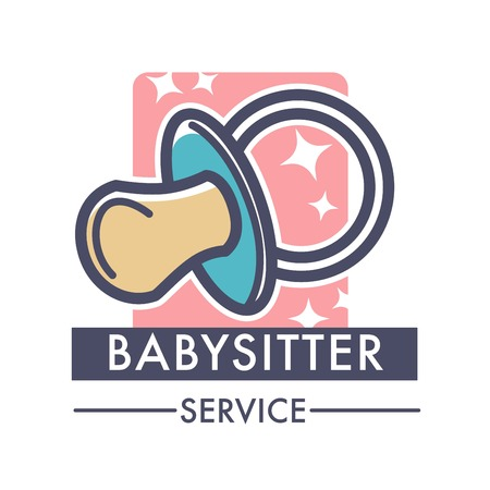 Babysitter service company caring for children logo of nanny Illustration