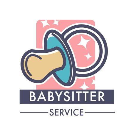 Babysitter service company caring for children logo of nanny Illustration