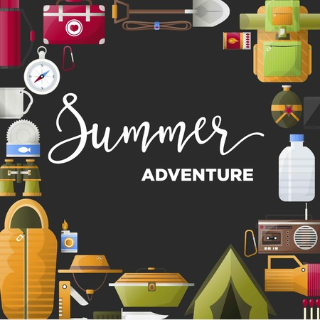 Summer camp poster of forest and hiking camping tools. Illustration