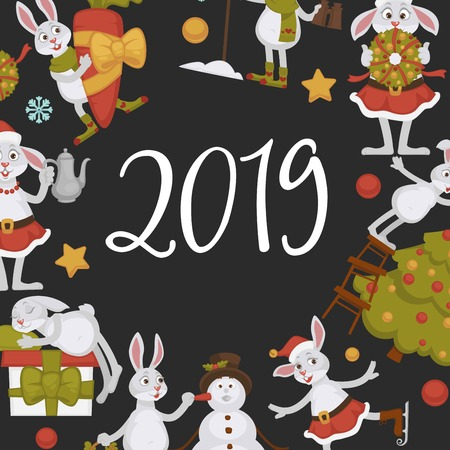 2019 New year celebration approaches, winter characters and symbols vector. Bunny animal skating on ice, presents and gifts, snowman with carrot nose. Fir decoration by rabbit wearing costume Ilustração