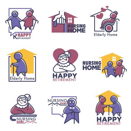 Glücklicher Ruhestand für Altenpflegeheim Vektorgrafik