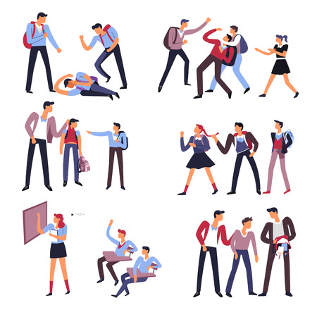 School people behaving badly with other students set vector man and woman expressing brutality and violence towards weak pupils angry males and females in social surroundings mean person kid