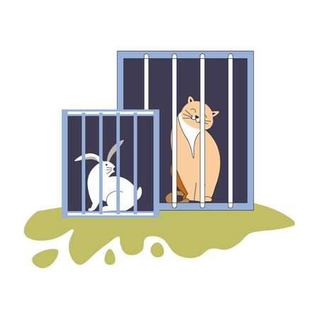Animal shelter kitty and bunny sitting in cages vector cat and rabbit homeless pets in containers domestic mammals hare and kitten with smile on muzzle adoption of new friend volunteering care