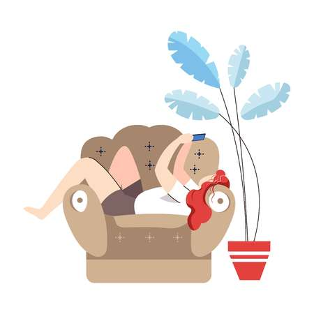 Young woman sitting on armchair looking at mobile phone vector weekend activity free time of woman busy with socializing and chatting via internet on smartphone home interior with plant in pot