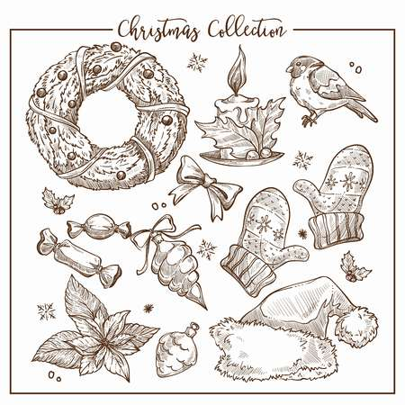 Christmas collection of symbolic traditional elements monochrome sketch outline vector. Ornate wreaths with candle, little bird and Santas hat, sweet candies and warm wool mittens Banque d'images - 127222188