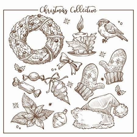 Collection de Noël d'éléments traditionnels symboliques vecteur de contour de croquis monochromes. Couronnes ornées avec bougie, petit oiseau et chapeau du père Noël, bonbons sucrés et mitaines chaudes en laine Vecteurs