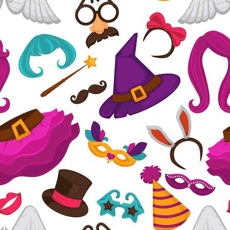 Carnival masks and costume accessories seamless pattern. Vector flat icons set of birthday party carnival mask, witch hat and wig, angel wings or funny nose or mustache glasses, bunny ears and magic hat