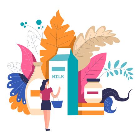 Mujer de compras en el supermercado eligiendo productos en la persona de vector de departamento de tienda de abarrotes de pie con la cesta y mirando el paquete grande de leche y comida láctea en contenedores follaje deja decoración