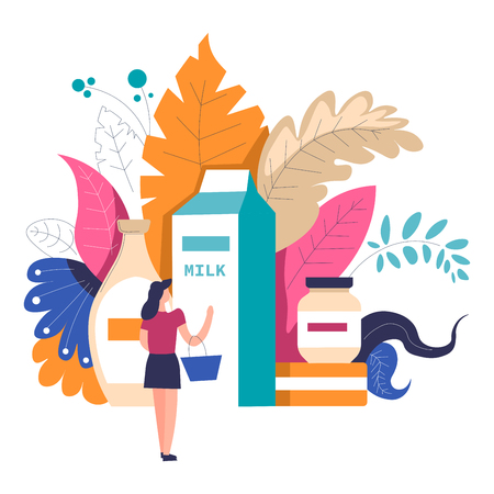 Woman shopping at supermarket choosing products at grocery store department vector person standing with basket and looking at big package of milk and dairy meal in containers foliage leaves decor  イラスト・ベクター素材