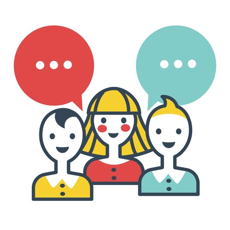 Voters thinking people ready to speak out ideas vector isolated icon in flat style of woman and man with thought bubbles chatting people on elections female and males meeting conference voting Vectores