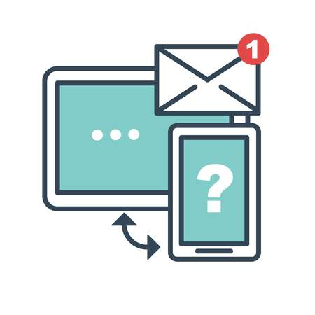 Helping service messages email chatting with operators isolated icon in flat style vector computer screen and smartphone synchronization and data storage savings question on cell phone monitor Illustration
