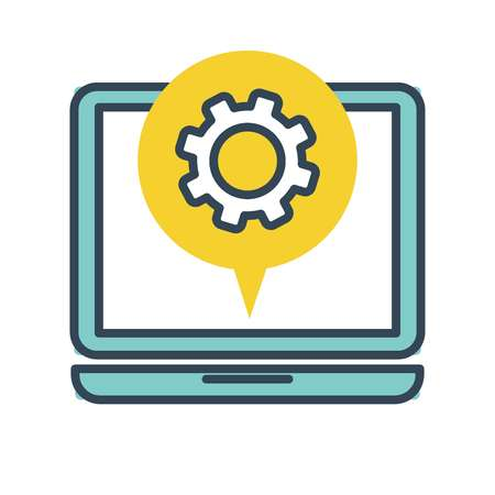 Computer screen with setting information isolated icon flat style vector line art of laptop monitor with cogwheel gear consulting center giving info hotline online service 24 hours customer support