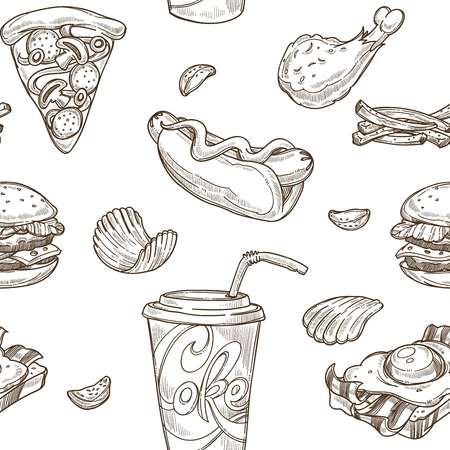 Impression de fond de croquis de restauration rapide. Conception sans couture de vecteur de cheeseburger, hamburger hamburger et sandwich à hot-dog, pizza et crème glacée ou dessert et boissons de beignet
