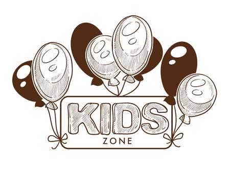 Kid party zone, event celebration, decoration vector.