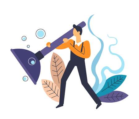 Plumber with force cup plunger tool in hands of workman vector person dealing with clogged pipeline helping people with household maintenance male in special uniform service for house foliage