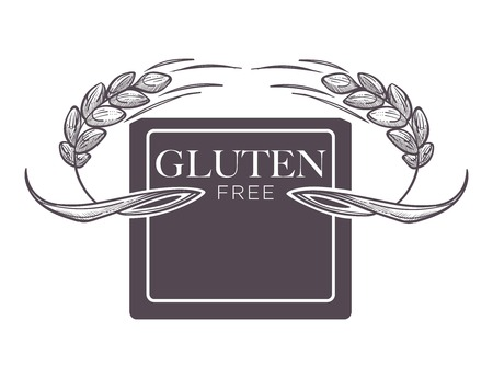 Gluten free products, poster with wheat vector.