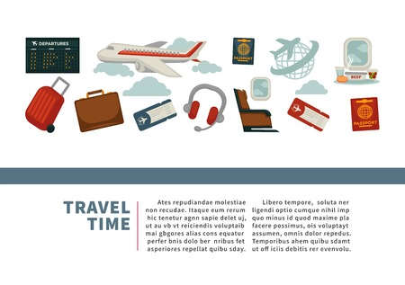 Travel or airplane world tour poster vector flat design for tourism agency or summer vacations. Vector flat design of aircraft and globe, tourist travel bags and passports or flight tickets