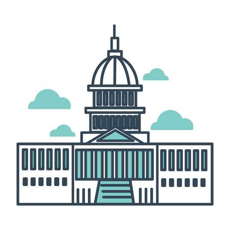 Capitol building of usa main monument of governmental importance vector flat style line art washington dc sightseeing american architecture and government place for meeting business conference 일러스트