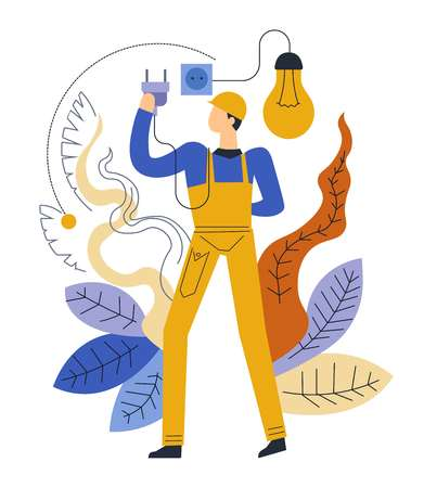 Electrician service helping people to cope with household problems vector man wearing special protective uniform dealing with electric bulb and socket with plug flowers and foliage repairman