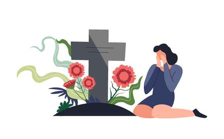 Funeral burial ceremony person sitting by tombstone and crying vector lady in grief with cross made of stone and flowers on dead grave woman unhappy with death mourning female with tears gravestone Фото со стока - 127158305