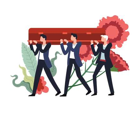 Funeral ceremony people carrying wooden coffin with body of deceased person inside vector flowers in bloom and foliage decor men mourning death service burial procession with males and casket Иллюстрация