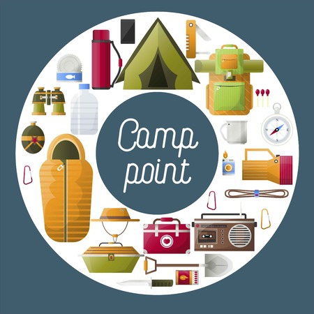 Summer camp poster of forest and hiking camping tools. Vector camping adventure rope for mountaineering, sleeping bag and backpack with compass or food bowler and campfire lighter icons