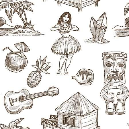 Hawaii reisen Skizzenmuster Hintergrund. Vektornahtloses tropisches exotisches Design von hawaiianischen Symbolen Honolulu Aloha Tänzerin mit Gitarre, Kokosnuss und Stammesmaske oder Hütte am Palmenstrand