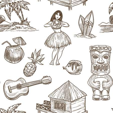 Hawaii travel sketch pattern background. Vector seamless tropical exotic design of Hawaiian symbols Honolulu aloha dancer with guitar, coconut and tribal mask or hut on palm beach
