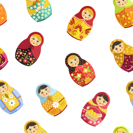 Russian nesting doll, traditional wooden souvenir from Russia seamless pattern isolated on white vector. Woman figure decorated with ornaments and natural clothes. Folklore and traditional drawing Illustration
