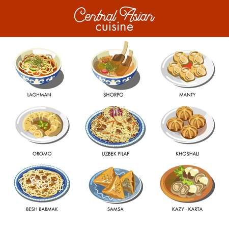 Central Asian food cuisine traditional dishes Uzbek pilaf rice, lagman soup or shorpa meat bouillon, kazy and beshbarmak delicatessen, manty dumplings and lagman noodles. Asia restaurant vector icons