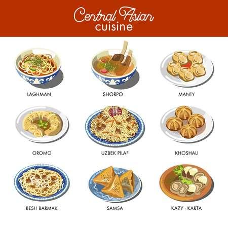Cucina dell'Asia centrale piatti tradizionali riso pilaf uzbeko, zuppa lagman o brodo di carne shorpa, delicatessen kazy e beshbarmak, gnocchi manty e noodles lagman. Icone vettoriali del ristorante asiatico