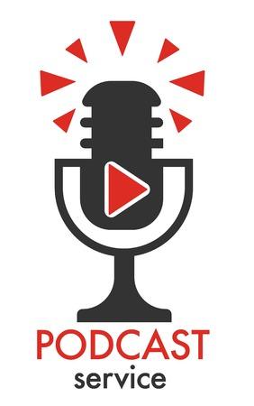 Blog, Multimediaquelle mit altmodischem Mikrofonvektor ausstrahlend. Mikrofonunterhaltung für Hörer, Radio- und Podcast-Medien. Journalismus-Mikrofon, Ankündigung wichtiger Neuigkeiten, Blogger-Logo