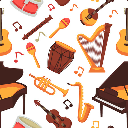 Musical instruments flat icons seamless pattern. Vector isolated set of orchestra harp and rock or banjo guitar, piano music notes and drums or percussion, maracas and flute with saxophone or trumpet bass