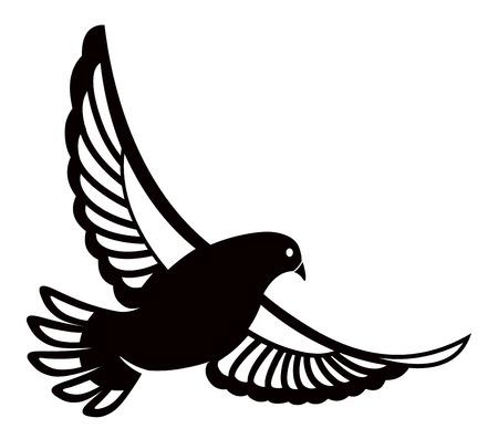 Taube oder Taube, weißer Vogel. Vektorlogoschablone oder isolierte Symbolikone der Friedensfreiheit oder Postzustellung und Tätowierung