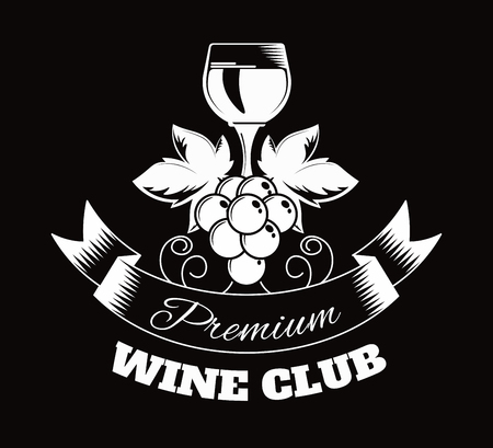 Premium wine club isolated monochrome emblem flat vector illustration on white background. Community of exquisite alcohol drink admires. Stockfoto - 113191236