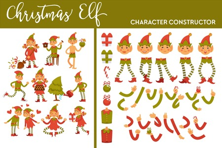 Christmas elf winter character set activities and body parts vector leprechaun wearing traditional clothes male and female with cooked gingerbread cookies presents and gifts in boxes with ribbons.