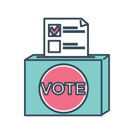 Vote ballot paper with mark for candidate chosen by people vector electoral season page with checkmark by name of person box with document voting container campaign and election filling form.